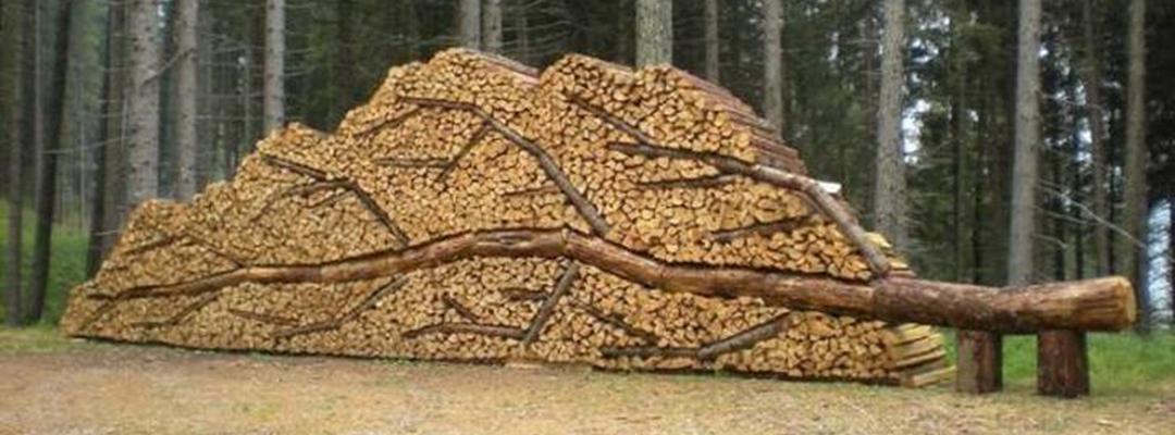 Lemne de foc aranjate sub forma unui copac