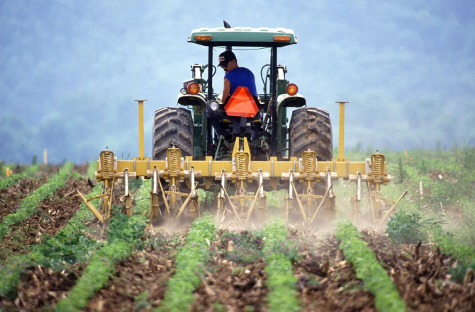 Un fermier lucrează câmpul