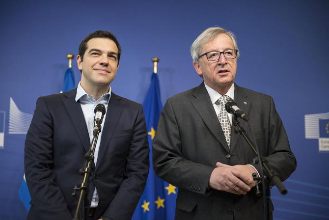 Premierul grec Alexis Tsipras și președintele Comisiei Europene, Jean-Claude Juncker