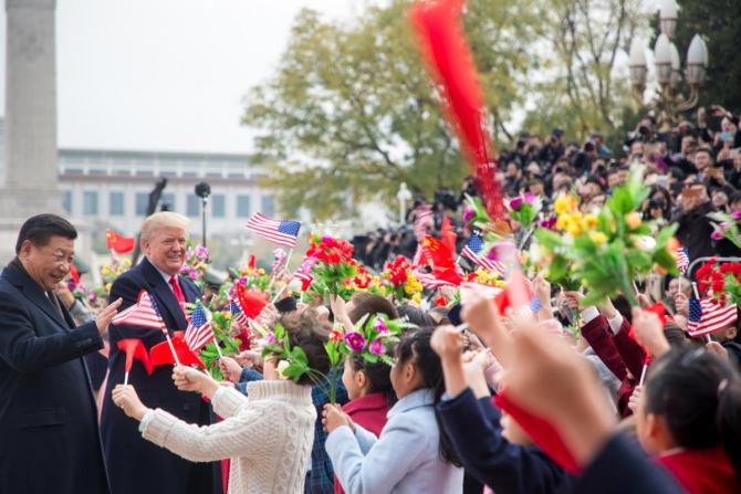 Xi Jinping la o întâlnire cu Donald Trump