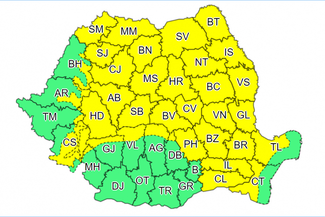 Cod galben de furtuni în aproape toată țara