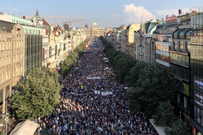 Protest uriaș la Praga