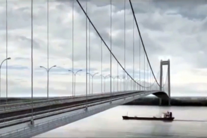 Podul suspendat peste Dunare