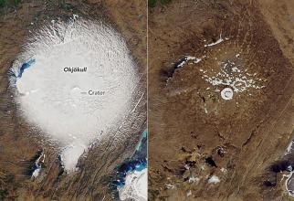 Din ghețar a mai ramas doar o mică bucată pe vârful vulcanului
