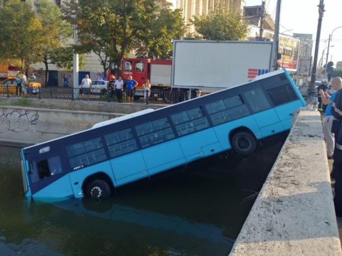 Autobuzul căzut în Dâmbovița