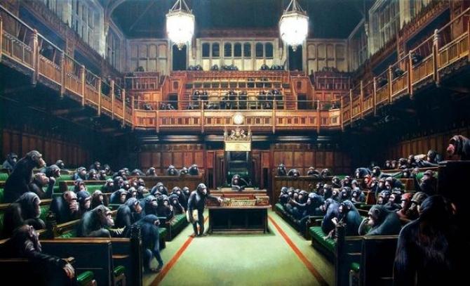 Devoted Parliament, lucrarea artistului Banksy