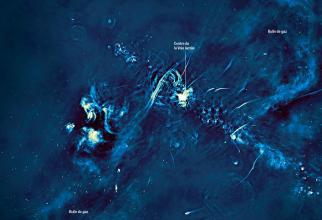 În imagine se vede cum din centrul galaxiei țâșnesc bulele de gaze