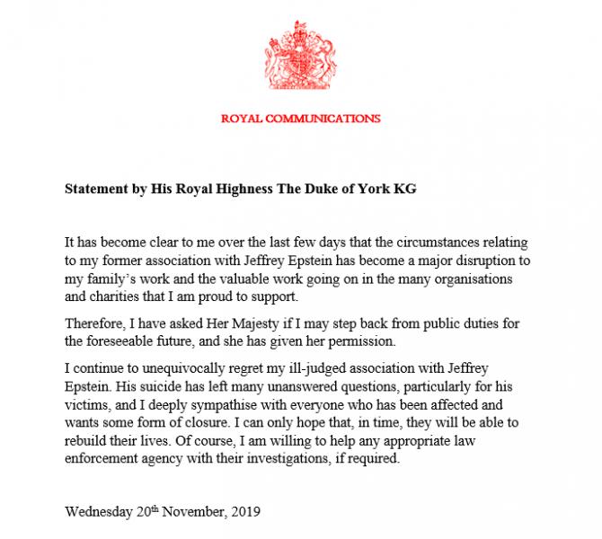 Comunicatul oficial al ducelui de York