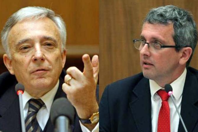 Mugur Isărescu și Valentin Lazea