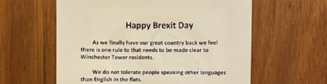 """Hârtii de notificare cu titlul """"Happy Brexit Day"""""""