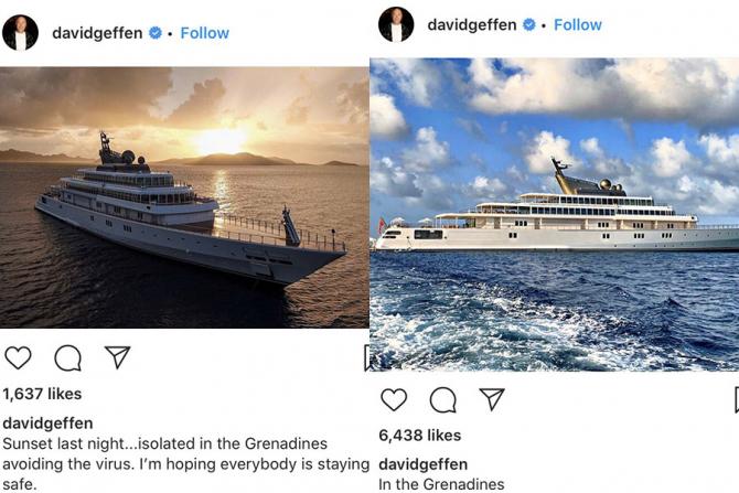 David Geffen s-a refugiat pe iahtul său de lux de unde postează pe internet fotografii