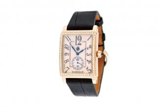 Ceas Fabergé Nr. 6, din aur roz, cu bezelul pavat cu diamante, de mână, de damă