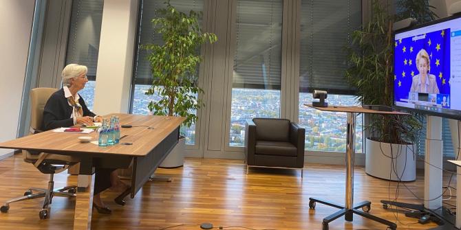 Christine Lagarde într-o teleconferință cu Ursula van der Leyen