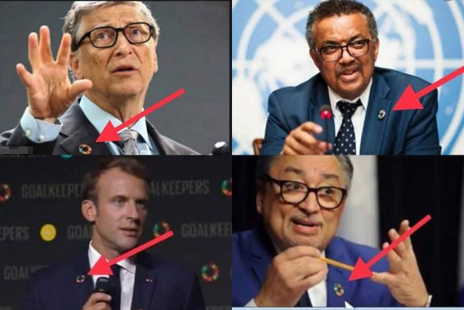 Bill Gates, Tedros Ghebreyesus, Emmanuel Macron, Horacio Arruda poartă insigna care a încisn imaginația multora