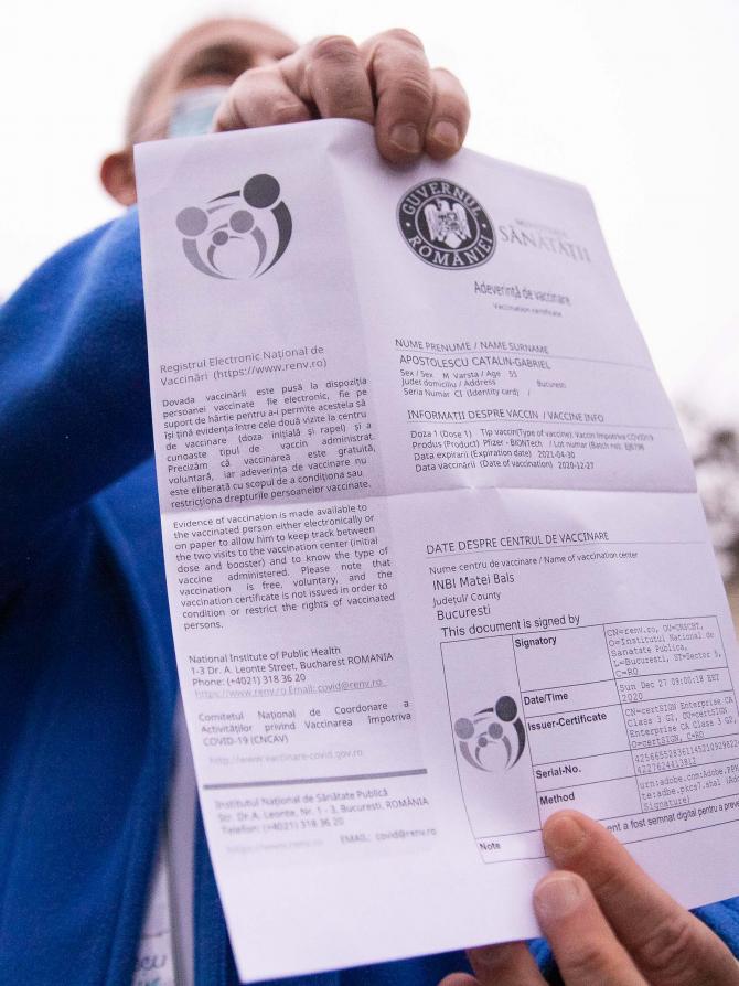 Certificatul de vaccinare însă nu are un statut juridic