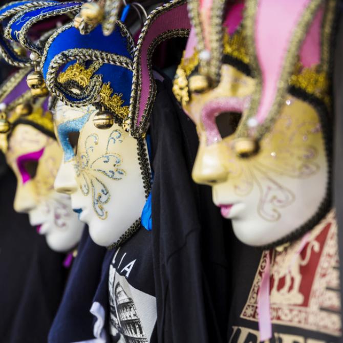 Măști tradiționale, purtate în timpul Carnavalului de la Veneția