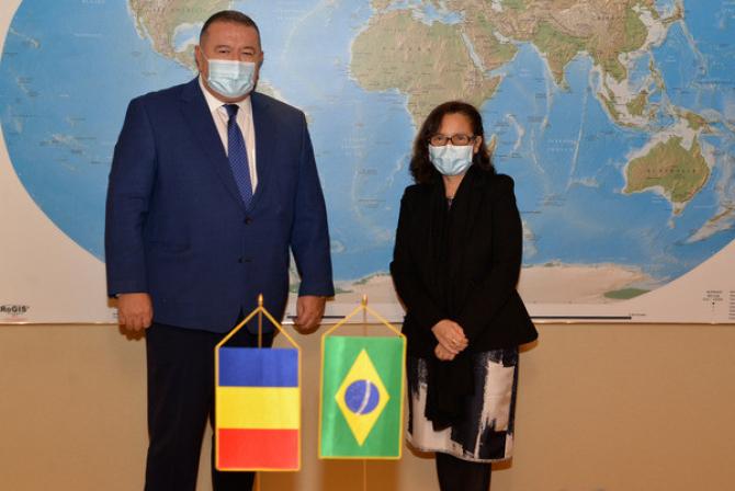 Mihai Daraban alături de Maria Laura da Rocha, ambasadorul Braziliei în România