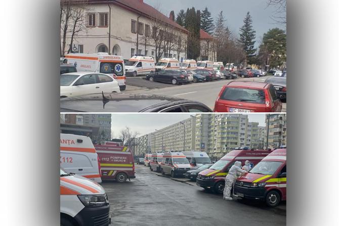Cozi de ambulante la spitalele din Brașov și București
