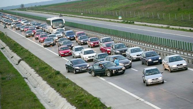 Trafic aglomerat la intrarea în Capitală