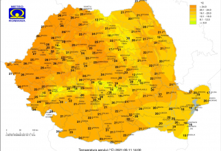 Harta temperaturilor, Sursa: ANM