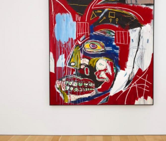 """""""In This Case"""" reia două teme dominante ale picturii lui Basquiat, anatomia şi reprezentarea personajelor afro-americane."""
