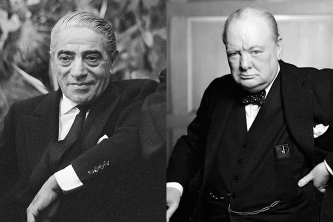Aristotel Onassis și Winston Churchill