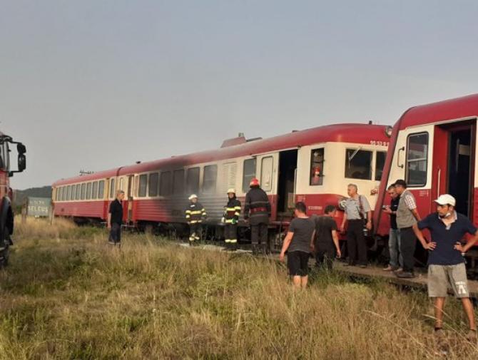 Trenul a luat foc în timp ce staționa