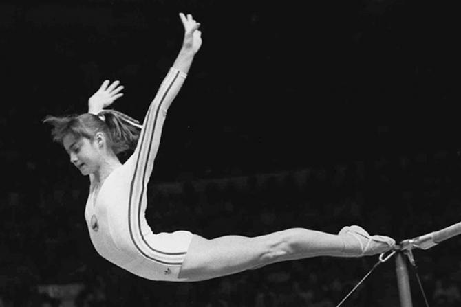Nadia Comaneci în timpul Olimpiadei de la Montreal